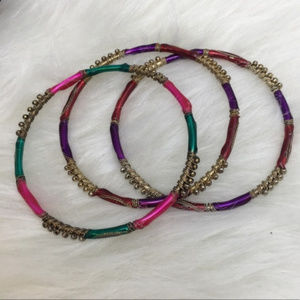 Jewelry - Multi-Colored India 3-Piece Stacking Bangle Set